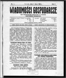 Wiadomości Gospodarcze Izby Przemysłowo-Handlowej w Toruniu 1922, R. 1, nr 1