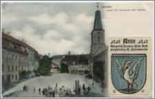Mewe. Markt mit Rathaus und Kirche