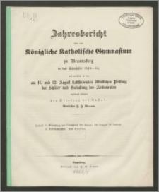 Jahresbericht über das Königliche Gymnasium zu Braunsberg in dem Schuljahre 1863-64