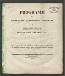 Programm des Koeniglichen Katolishen Gymnasiums in Braunsberg für das schuljahr 1843-1844