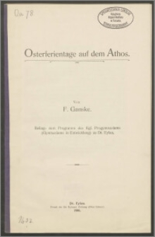 Osterferientage auf dem Athos