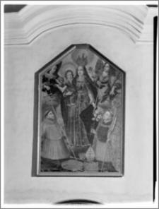 """Pakość. Kościół parafialny pw. Św. Bonawentury. Obraz """"Maria z Dzieciątkiem, św. Bonawenturą i św. Ludwikiem d'Anjou"""" autorstwa Barłomieja Strobla"""