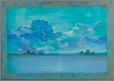 """Z cyklu : """"Duże Kujawy"""" : Wisła nocą ( z burzowymi chmurami w błękicie)"""