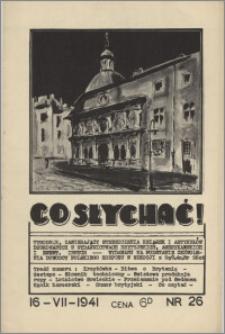 Co Słychać : tygodnik zawierający streszczenia książek i artykułów ... 1941, R. 2 nr 26