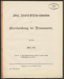 Königl. Friedrich-Wilhelms-Gymnasium zu Greifenberg in Pommern. XLVII. Ostern 1899