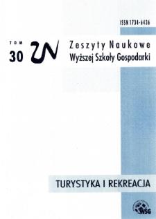Zeszyty Naukowe Wyższej Szkoły Gospodarki w Bydgoszczy. T. 30 (2017), Turystyka i Rekreacja, nr 14