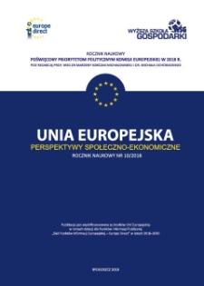 Unia Europejska - Perspektywy Społeczno-Ekonomiczne. Nr 1 (10)/2018