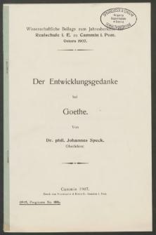 Der Entwicklungsgedanke bei Goethe