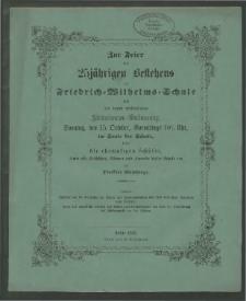 Zur Feier des 25jähringen Bestehens der Friedrich=Wilhelms=Schule und der damit verbundenen