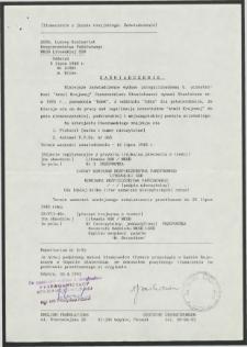 Zaświadczenie oraz tłumaczenie zaświadczenia dotyczącego zalegalizowanego b. uczestnkika Armii Krajowej Stanisława Czeszumskiego