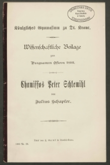 Chamissos Peter Schlemihl