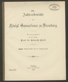 37. Jahresbericht des Königliches Gymnasium zu Dramburg