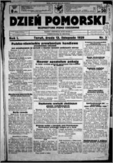 Dzień Pomorski, 1929.11.13, R. 1 nr 3