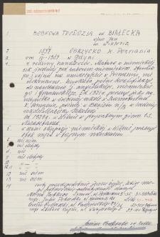 Bobkowa Teodozja zd. Białecka [ankieta]