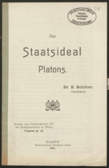 Das Staatsideal Platons