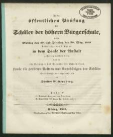 Zu der öffentlichen Prüfung der Schüler der höhern Bürgerschule, welche Montag den 29. und Dienstag den 30. März 1858