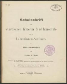 Schulschrift der städtischen höheren Mädchenschule und des Lehrerinnen-Seminars in Marienwerder, Ostern 1902