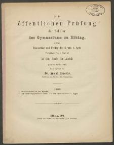 Zu der öffentlichen Prüfung der Schüler des Gymnasiums zu Elbing, welche Donnerstag und Freitag den 3. und 4. April