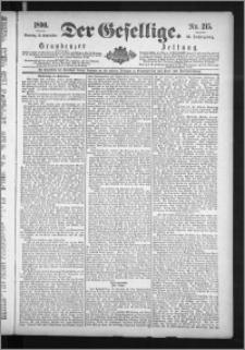 Der Gesellige : Graudenzer Zeitung 1890.09.14, Jg. 65, No. 215