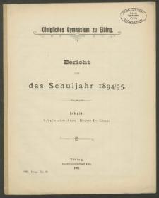 Königliches Gymnasium zu Elbing. Bericht über das Schuljahr 1894/1895