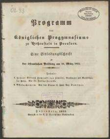 Programm des Königlichen Progymnasiums zu Hohenstein in Preussen. Eine Einladungsschrift zu der öffentlichen Prüfung am 18. März 1853