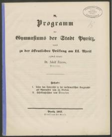 8. Programm des Gymnasiums der Stadt Pyritz, womit zu der öffentlichen Prüfung am 11. April