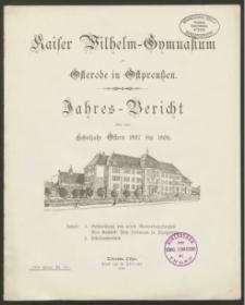 Kaiser Wilhelm-Gymnasium zu Osterode in Ostpreußen. Jahres-Bericht über das Schuljahr Ostern 1907 bis 1908