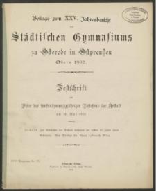 Beilage zum XXV. Jahresbericht des Städtischen Gymnasiums zu Osterode in Ostpreußen Ostern 1902