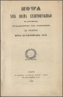 Mowa księcia Adama Czartoryskiego na posiedzeniu Towarzystwa Literackiego Polskiego w Paryżu dnia 29 listopada 1839.