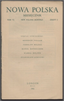Nowa Polska = New Poland Monthly 1946, T. 6 z. 5