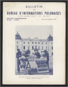 Bulletin du Bureau d'Informations Polonaises : bulletin hebdomadaire 1953.09.29, An. 9 no 272