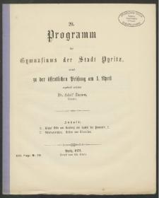 20. Programm des Gymnasiums der Stadt Pyritz, womit zu der öffentlichen Prüfung am 1. April