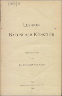 Lexikon baltischer Künstler hrsg. von Wilhelm Neumann