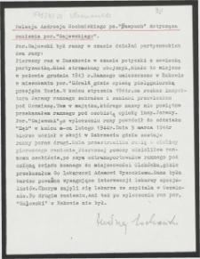 """Relacja Andrzeja Sochańskiego ps. """"Pampuch"""" dotycząca ranienia por. """"Gajewskiego"""""""