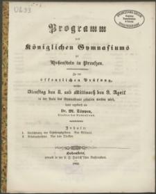 Programm des Königlichen Gymnasiums zu Hohenstein in Preußen. Zu der öffentlichen Prüfung, welche Dienstag den 8. und Mittwoch den 9. April