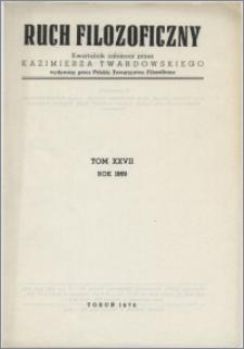 Ruch Filozoficzny 1969, T. 27 Indeks