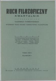 Ruch Filozoficzny 1963-1964, T. 22 nr 1
