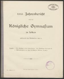 XXXII. Jahresbericht über das Königliche Gymnasium zu Lötzen während des Schuljahres 1910/11