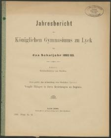 Jahresbericht des Königlichen Gymnasiums zu Lyck für das Schuljahr 1892/93