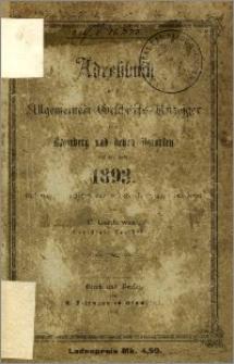 Adressbuch nebst allgemeinem Geschäfts-Anzeiger von Bromberg und dessen Vororten auf das Jahr 1893 : auf Grund amtlicher und privater Unterlagen