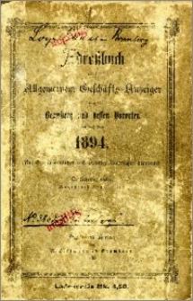 Adressbuch nebst allgemeinem Geschäfts-Anzeiger von Bromberg und dessen Vororten auf das Jahr 1894 : auf Grund amtlicher und privater Unterlagen