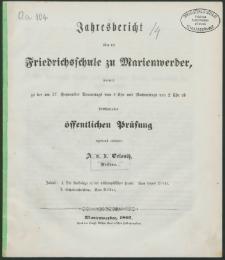 Jahresbericht über die Friedrichsschule zu Marienwerder, womit zu der am 27. September