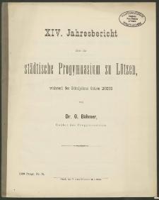 XIV. Jahresbericht über das städtische Progymnasium zu Lötzen, während des Schuljahres Ostern 1892/93