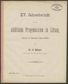 XV. Jahresbericht über das städtische Progymnasium zu Lötzen, während des Schuljahres Ostern 1893/94