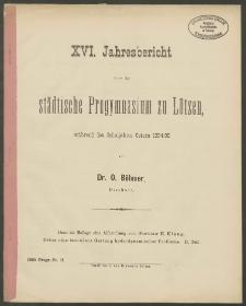 XVI. Jahresbericht über das städtische Progymnasium zu Lötzen, während des Schuljahres Ostern 1894/95