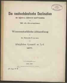 Die neuhochdeutsche Declination der Adjectiva, Zahlwörter und Pronomina