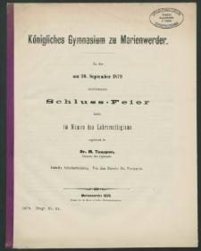 Königliches Gymnasium zu Marienwerder. Zu der am 26. September 1879