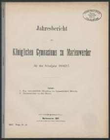 Jahresbericht des Königlichen Gymnasiums zu Marienwerder für das Schuljahr 1886/87