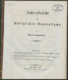 Jahresbericht des Königlichen Gymnasiums zu Marienwerder