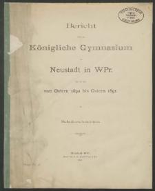 Bericht über das Königliche Gymnasium zu Neustadt in Westpreussen für die Zeit von Ostern 1890 bis Ostern 1891